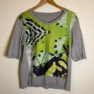 Marc Cain butterfly top. Gray Back butterfly front. Size 3 German